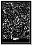 Panorama Poster Karte Schwarz von Berlin 50 x 70 cm -