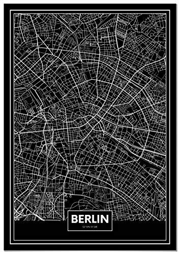 Panorama Poster Carte Noir de Berlin 21 x 30 cm - Imprimée sur Poster de Grande qualité - Poster Ville Noir et Blanc - Poster Moderne pour la Maison -