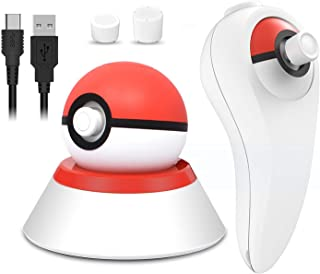 Dobe 4 in 1 USB Charger Cable with Stand and Grip Holder for Nintendo Switch Poke Ball Plus Controller, Accessories Kit fo...
