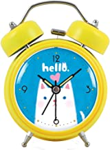 青いボトムの動物のフィギュア目覚まし時計ルミナスミュートスリーピーレイジーダブルベルモダンファッションベッドシンプルで創造的なパーソナリティパーソナライズホーム多色オプション9CM * 5CM * 12CM CHENGYI (Color : Yellow)