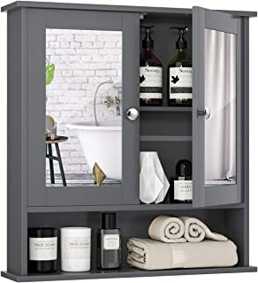 Tangkula Bathroom Cabinet Wall Mounted with Double Mirror Doors, Wood Hanging Cabinet with Doors and Shelve...