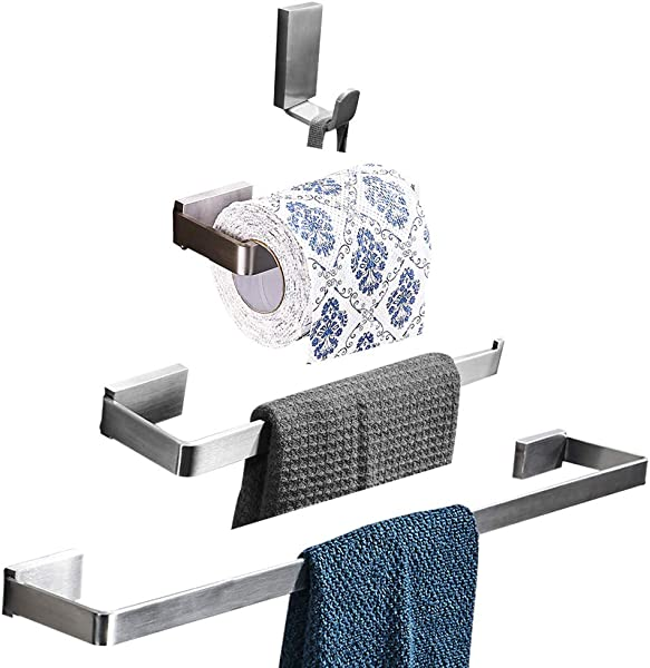 WINCASE Modern Style 4 Piece Durable Bathroom Hardware Accessories Set Of Stainless Steel Silver Brushed Nickel A Towel Bar A Toilet Paper Holder A Towel Ring And A Coat Hook