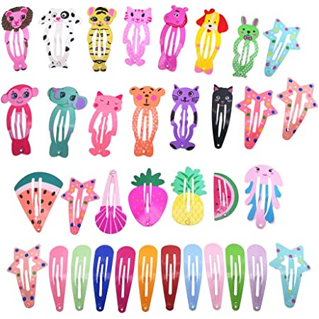 35 Pcs Animal Pattern Print Metal Snap Hair Clips For Girls Hair Accessories