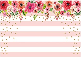 Funnytree 7X5ft Pink and White Stripes Flowers Party Backdrop Floral Rose Birthday Photo Background Gold Sprinkle Bridal Shower Sweet Table Banner Wedding Decorations for Photography