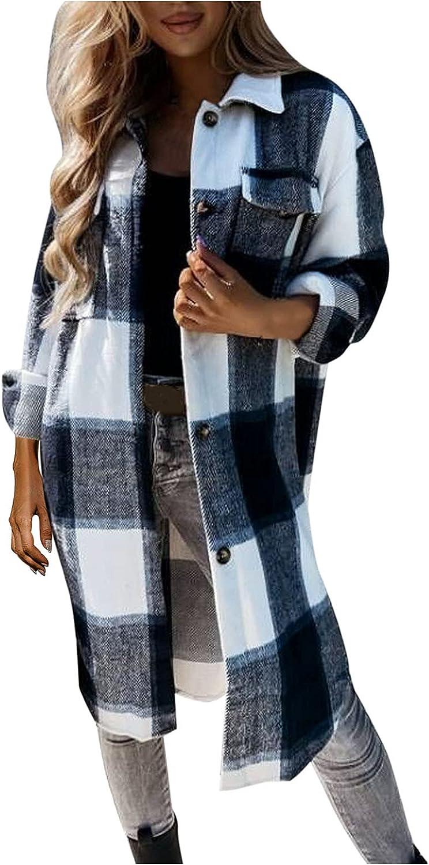 Misaky Women's Turn Down Collar Grid Coat Belted Wool Blend Coat Asymmetric Hem Wrap Coat