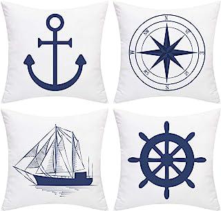 Elloevn Juego de 4 fundas de cojín de estilo náutico azul, diseño de ancla, barco, navegación, brújula, 45 x 45 cm, color blanco y azul