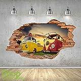 1Stop Graphics Shop VW Campingbus Wandaufkleber 3D Optik - Schlafzimmer Lounge Stadt Wand Abziehbilder z447 - Large: 70 cm x 120 cm