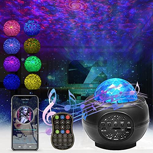 Proyector de Luz Estelar, LED de Luz Nocturna Giratorio, Lámpara de Nocturna con Bluetooth y Remoto, Lampara Proyector Estrellas para el ambiente dormitorio de los niños Fiesta de cumpleaños en casa