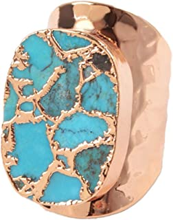 1 Piece Rose Gold or Gun Black Metal Plated Natural Copper Turquoise Band Ring Mixed Gold Veins