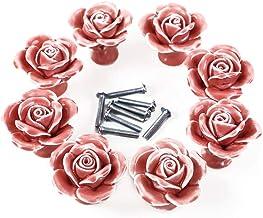 Healifty 8 stks Keramische Lade Knoppen Roze Rose Bloem Kast Knoppen Kast Knoppen Borst Knoppen voor Thuis Keuken Kantoor