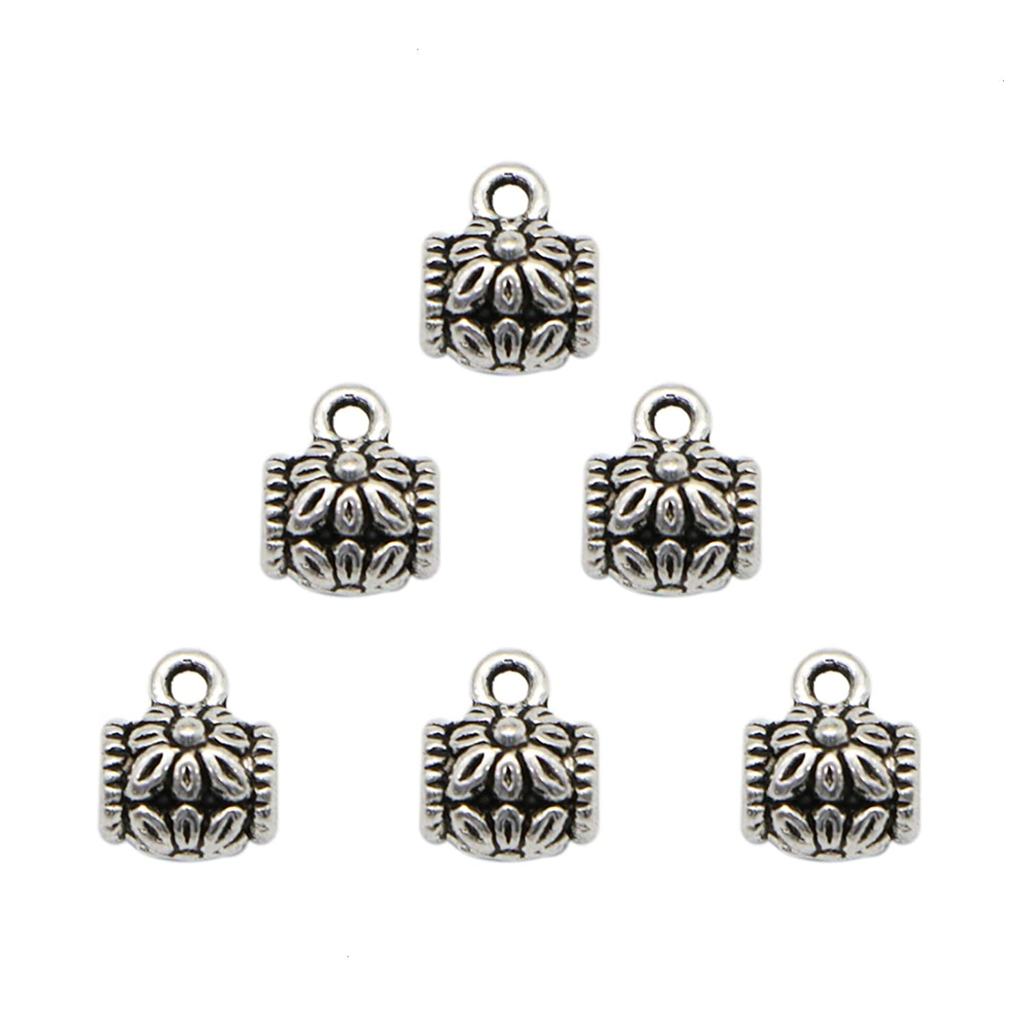 Monrocco 80 Pieces Silver Connector Bail Beads Spacer Beads with Loop Jewelry Making