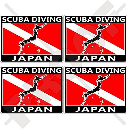 JAPAN SCUBA Duiken Vlag-Japanse Kaart Vorm 50mm (2