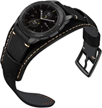 Ayigo Compatible with Samsung Galaxy Watch 42mm/Active 40mm/Gear S2 Classic Bands, 20mm Classic Genuine Leather Cuff Bracelet Replacement Strap with Stainless Steel Buckle for Men Women (Black, 20mm)