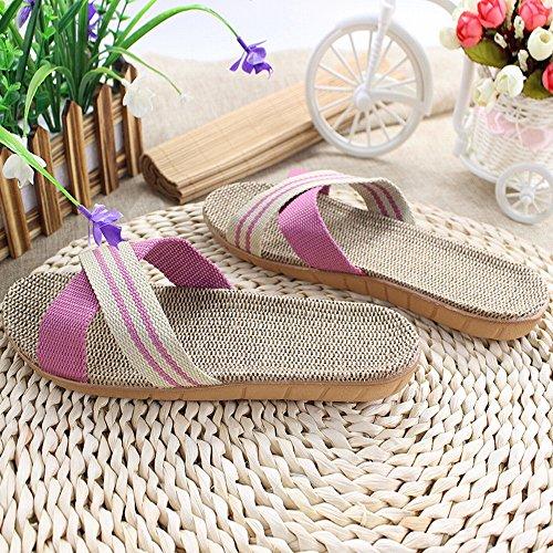 Spring Open Raya Sandalias de Lino Zapatillas de Cáñamo Hombres Y Mujeres Pares Zapatos Caseros,Do,37-38