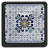 [4 piezas] Tirador de cajón de cristal con tornillos para el hogar, la oficina, el armario, el armario, el patrón de flores geométricas de Talavera púrpura