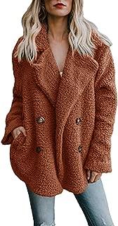 Women's Winter v Neck Warm Cardigan Shearling Fuzzy Jacket Faux Fur Coat with Pockets