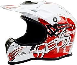 LJJ Casco de Motocross Motocross, Casco de Motocross, Casco de Carretera, Casco de Carreras, Casco de Bicicleta de montaña, Color Blanco, Negro y Rojo, tamaño Grande, Medium