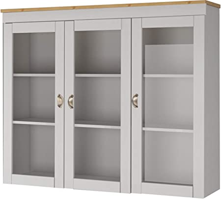 Loft24 A S Hanging Wall Mounted Kitchen Cabinet 3 Glass Doors Storage Unit Solid Pine Wood 149 X 29 X 120 Centimeter White Honey Amazon Co Uk Kitchen Home