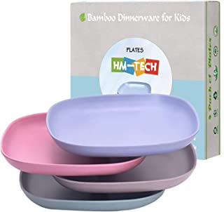 4pcs Bamboo Kids Plates for Baby Feeding, Non Toxic & Safe Toddler Plates, Eco-Friendly Tableware for Baby Toddler Kids Bamboo Toddler Dishes & Dinnerware Sets