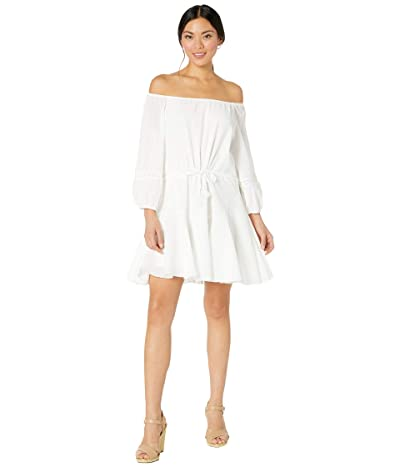 American Rose Jada Off-the-Shoulder Ruffled Dress (White) Women