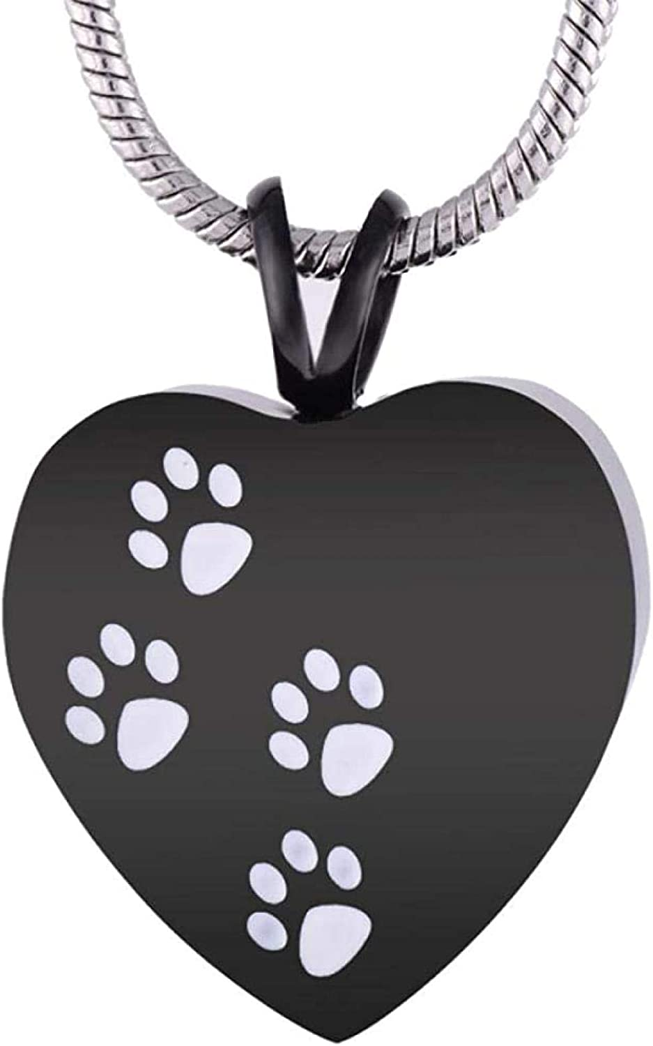 Memorial Jewelry Ashes Urn Necklace Paw Print Engrave Memorial Jewelry Design Memorial Ash Keepsake Pendant Necklace for Pet Dog Cat Ashes Jewelry Ashes Urns Cremation Keepsake Memorial