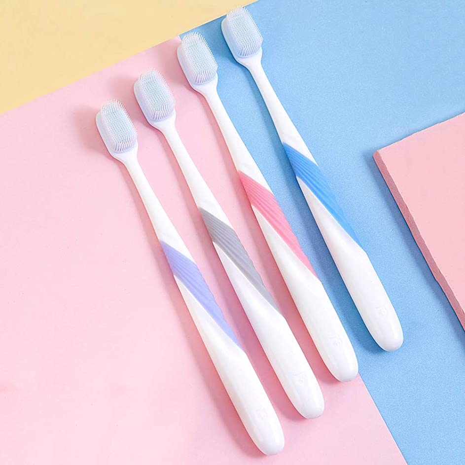 冷ややかな無礼にヒープ歯ブラシ 4ナノ歯ブラシ、大人柔らかい歯ブラシ、ワイドブラシヘッド歯ブラシは、ガムの健康問題を解決します HL (サイズ : 4 packs)