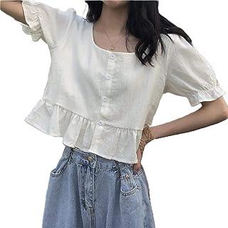 Doufine Women Casual Loose T-Shirt Elegant Ruffle Blouse Top