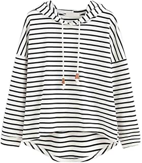 otoño Plus Size Moda Raya con Bolsillos Casual Sweatshirt Manga Larga Crop Jumper Pullover Tops