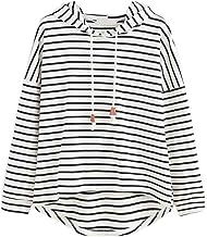 VJGOAL Mujer otoño Plus Size Moda Raya con Bolsillos Casual Sweatshirt Manga Larga Crop Jumper Pullover Tops