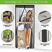 "Magnetic Screen Door, Vdealen Door Mesh Fly Mosquito Curtain with Magnets & Full Frame Velcro,Fit Door Size 34"" X 82"",Full Frame Hook & Loop, Hands Free, Pet Friendly"