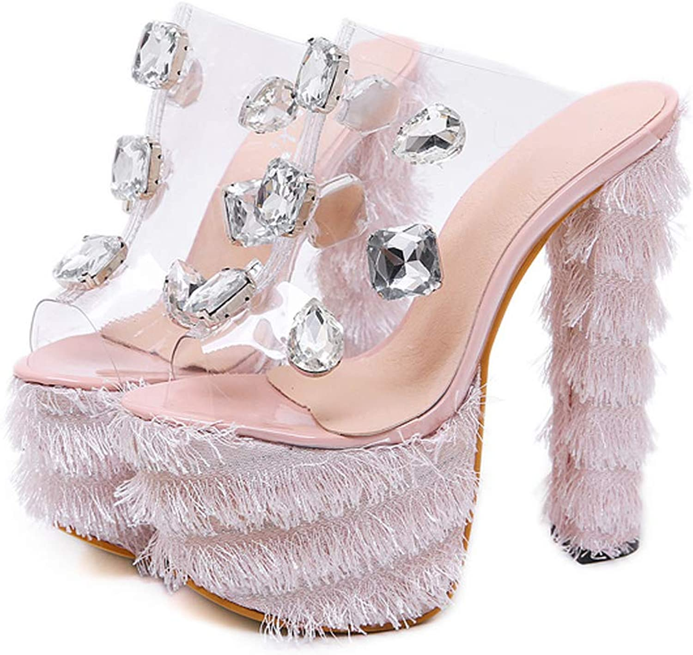 Sexy PVC Crystal Platform Women Sandals, Sexy Club Pumps Square Heel 16.5 cm Pink Black Princess Sandals Size 34-40,Pink,5US