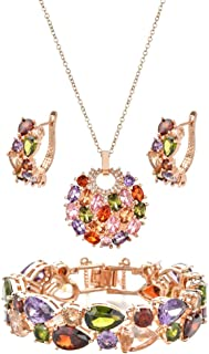 W WOOGGE Rainbow Ladies Jewelry Sets Gift for Mother Grandmother Daughter - Colorful Crystal Gemstone Necklace Earrings Br...