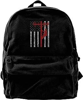 NJIASGFUI Mochila de lona con la bandera de los Estados Unidos Lineman Lineworker para gimnasio, senderismo, laptop, bolsa...