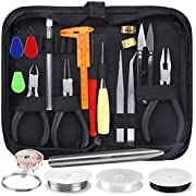 OPount 27 Pieces Jewelry Making Kit Supplies with Zipper Storage Case Beads Wire Starter Tool for Jewelry Crafting and Jewelry Repairing