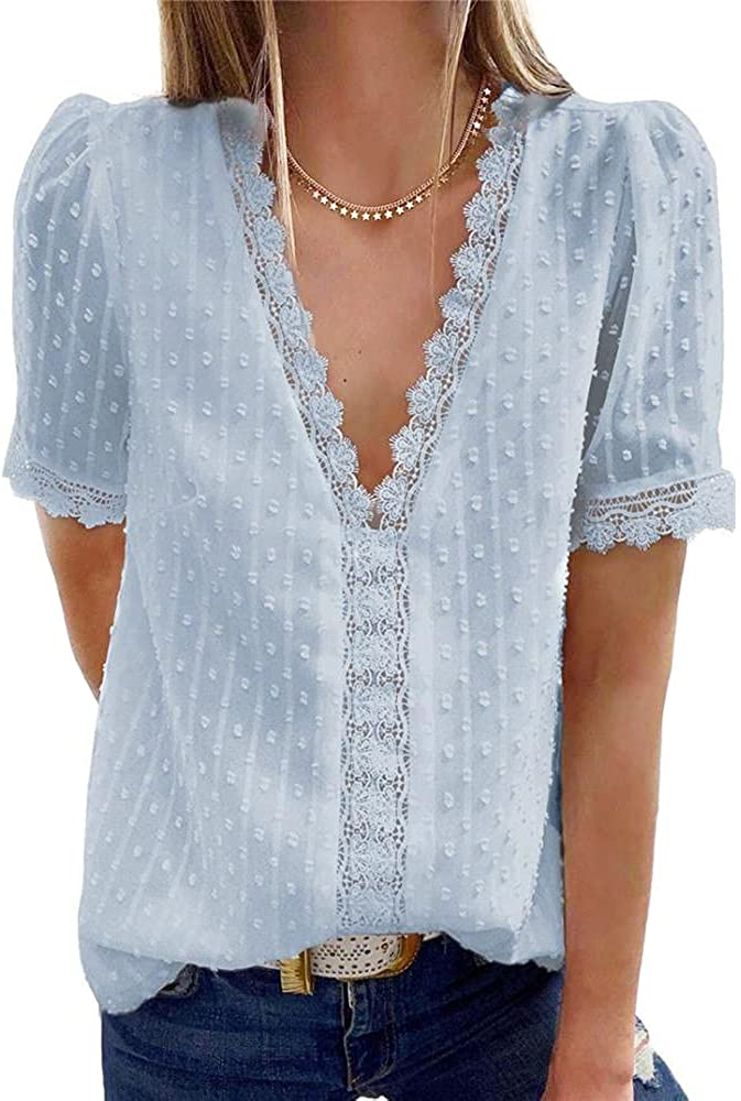Costaric Women's Fashion V Neck Lace Crochet Top Blouse Casual Solid Color Loose Shirt Tunic