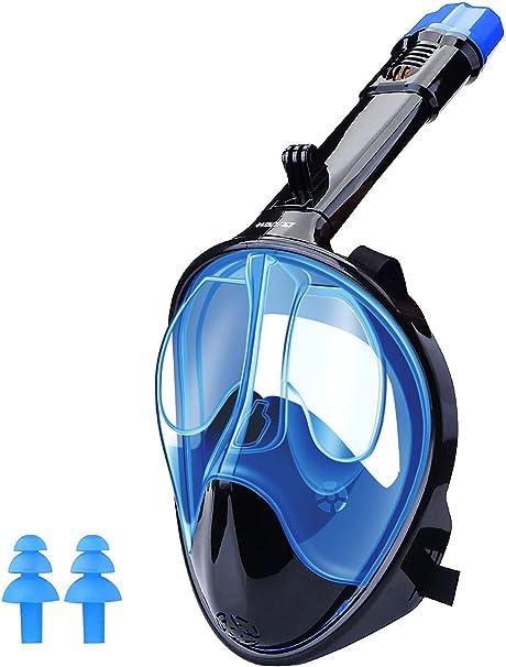 WANFEI Maschera Subacquea,Maschera Snorkeling con Visuale Panoramica 180° Design Pieno Facciale e Compatibile con Videocamere Sportive Maschera ...