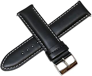Lucien Piccard 22MM Black Genuine Leather Watch Band Strap with Silver Stainless LP Buckle