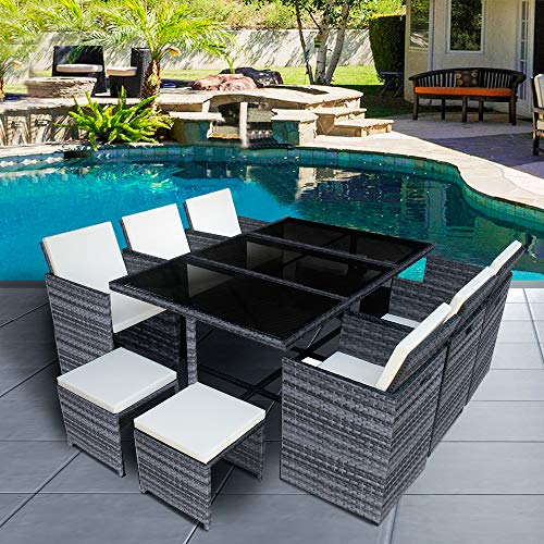 Panana 10 Seater Rattan Garden Furniture Set Dining Table and Chairs Stools Set Outdoor Patio and Conservatory Mixed Grey
