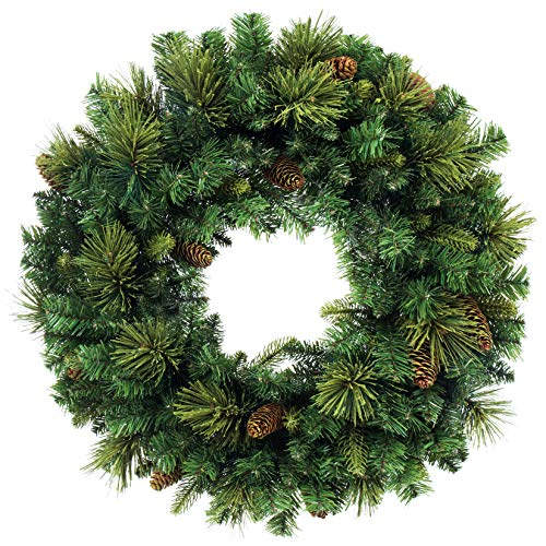 Artificial Christmas Garland and Wreath,Decorated with Pine Cone and Red Berries (Carolina Pine Wreath)