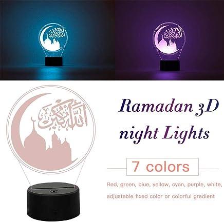 popchilli Moslemischer Islam Ramadan Deko Licht Eid Mubarak LED Mond 3D Nachtlicht Nachtbeleuchtung F/ür Kinder Projektor Lampe