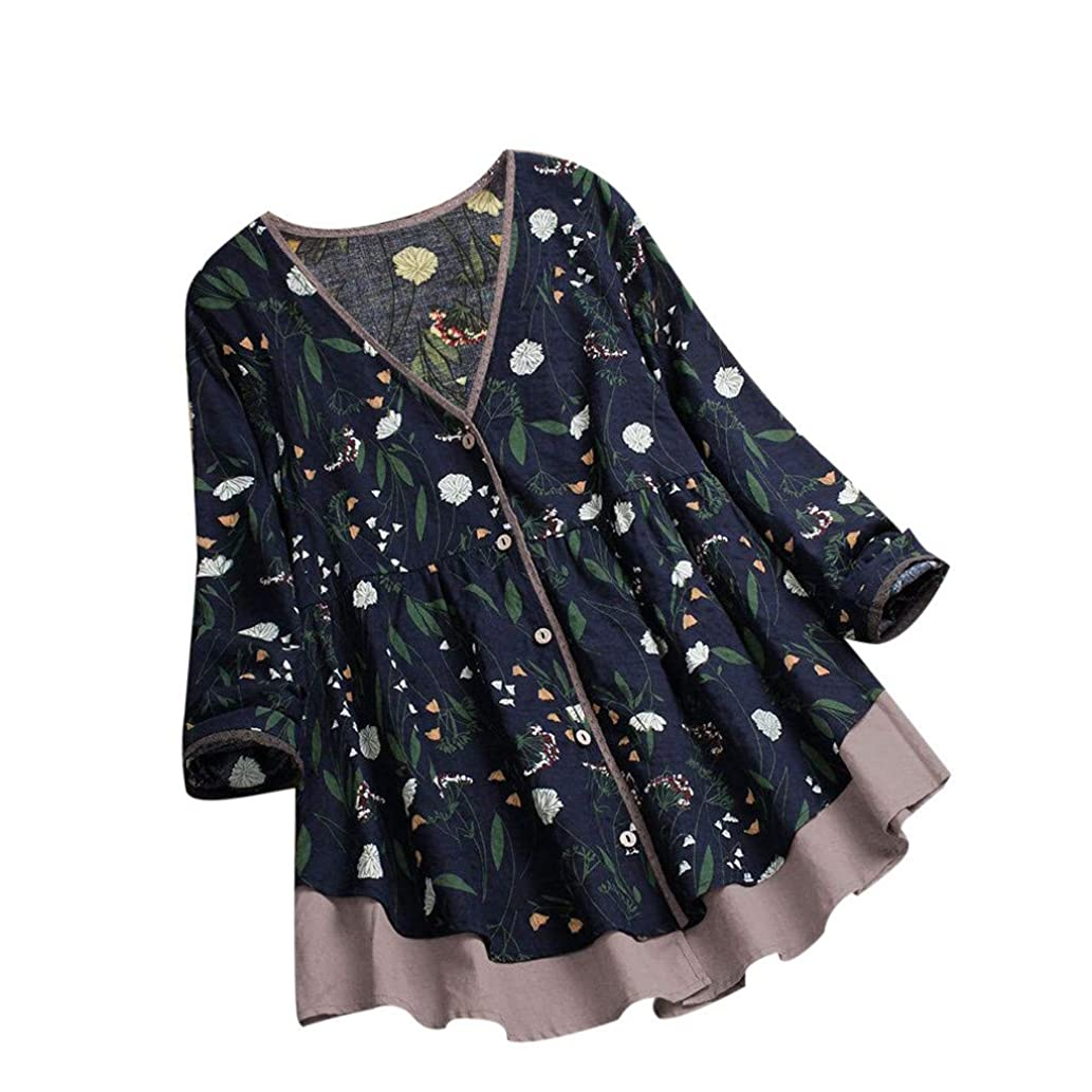 Women Blouse Tunics Womens Floral Print Patchwork Lace Splicing Pullover Tops Casual Blouse T Shirt for Women