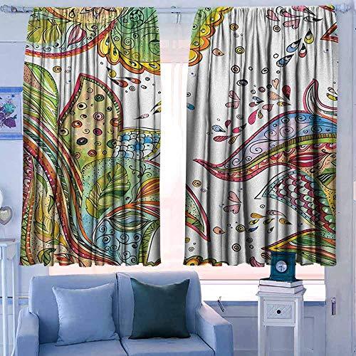 patroon gordijnen Rod Pocket Gordijn Panelen voor Slaapkamer & Keuken Grunge Patronen van Bladeren Bloemen en Hartvormen in Abstract Tuin Thema Art Print Groen Oranje