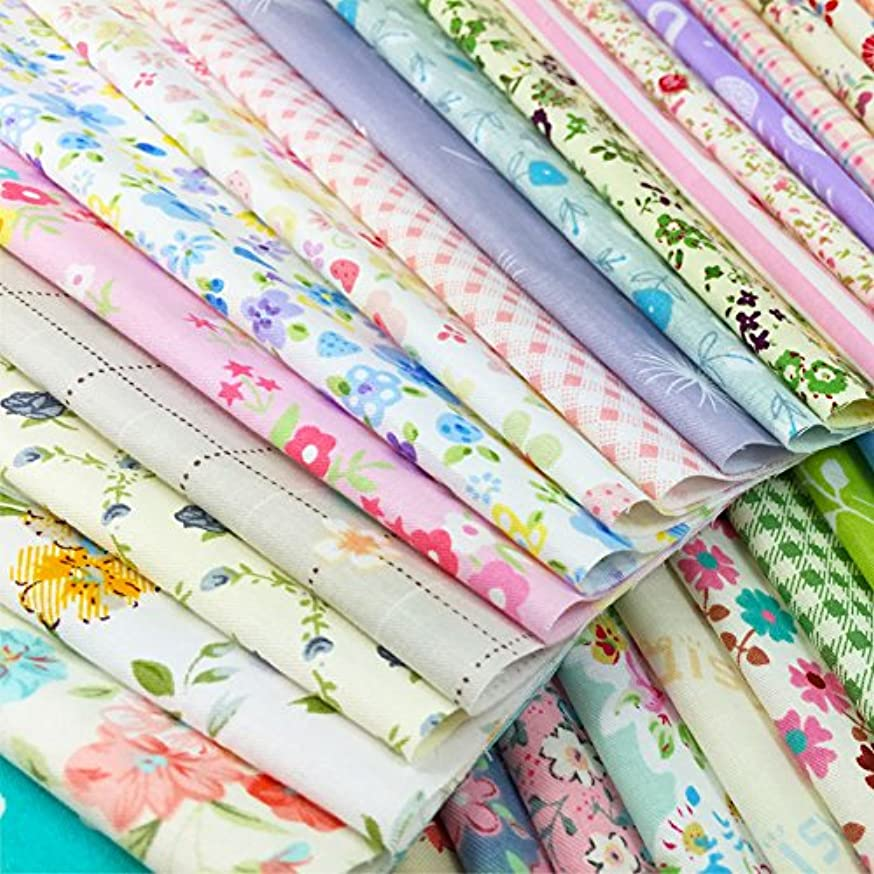 flic-flac Quilting Fabric Squares 100% Cotton Precut Quilt Sewing Floral Fabrics for Craft DIY (8 x 8 inches, 60pcs)