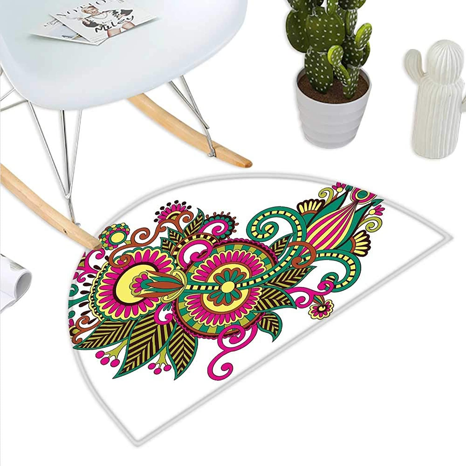 Henna Semicircle Doormat Traditional Ukrainian Design Hand Drawn Floral Pattern Multicolord European Design Halfmoon doormats H 39.3  xD 59  Multicolor