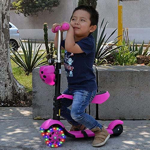 BSQT Animal Candy Three-Color 3 Ruedas Scooter niños con Asiento para niños pequeños de 2 a 13 años de Altura Ajustable Triciclos Deportivos con Parpadeo LED Big Weels Wiggle Scooter (Color : Pink)