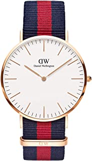 Daniel Wellington Oxford Rose Men's Quartz Watch with White Dial Analogue Display and Multicolour Nylon Strap 0101DW