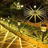 Outdoor Solar Pathway Lights,6Pack IP67 Waterproof Decorative LED Landscape Lights,Solar Powered Outdoor Garden Lights for Path Walkway Yard Lawn Driveway Backyard Patio Lighting (Warm White)