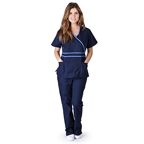 Natural Uniforms Womens Contrast Mock Wrap Scrub Set