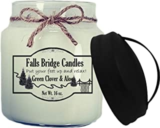Falls Bridge Candles Green Clover & Aloe Scented Jar Candle, 16-Ounce, w/Handle Lid