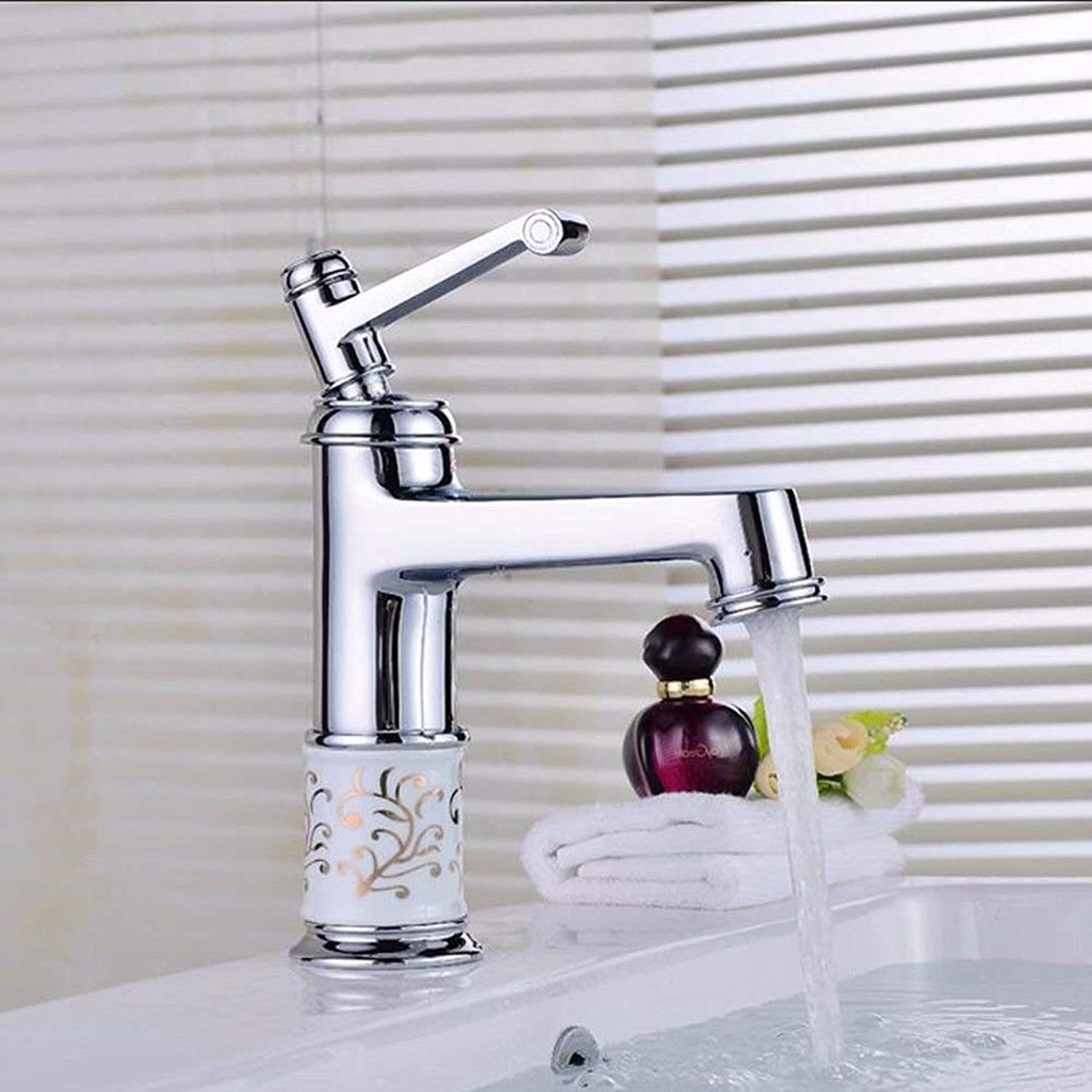 Oudan Basin Mixer Tap Bathroom Sink Faucet gold hot and cold full copper basin faucet antique table basin mixer continental lowered basin Washbasin Faucet,H (color   A)